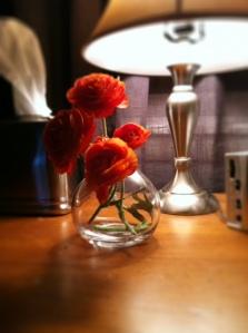 Flowers on nightstand
