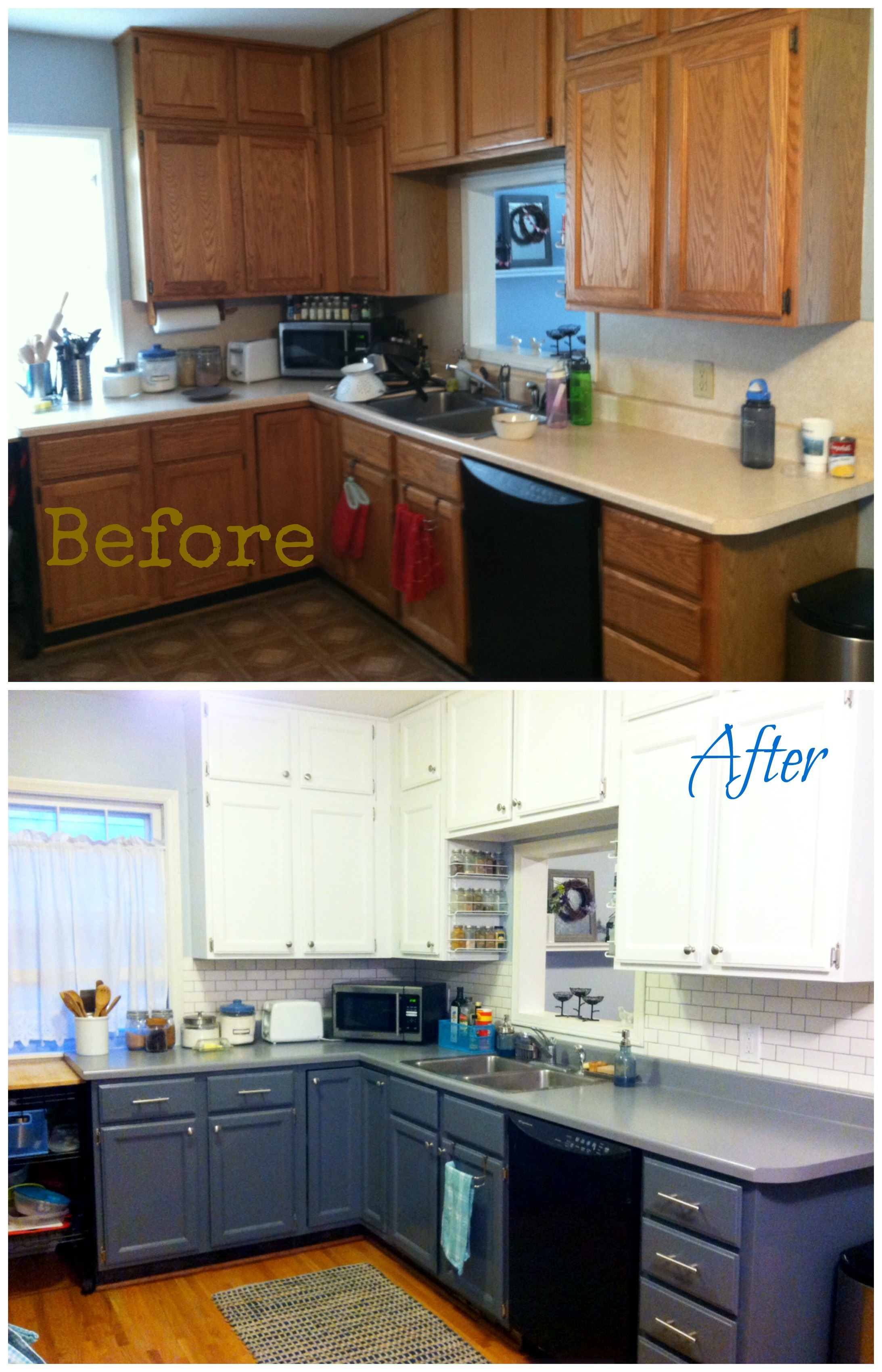Kitchen redo wild blue for Cabinets before and after